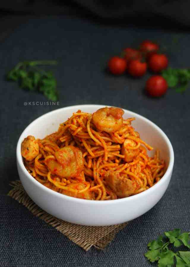 best Jollof spaghetti recipe. easy jollof spaghetti recipe. jollof recipe. beautiful picture of spaghetti dish