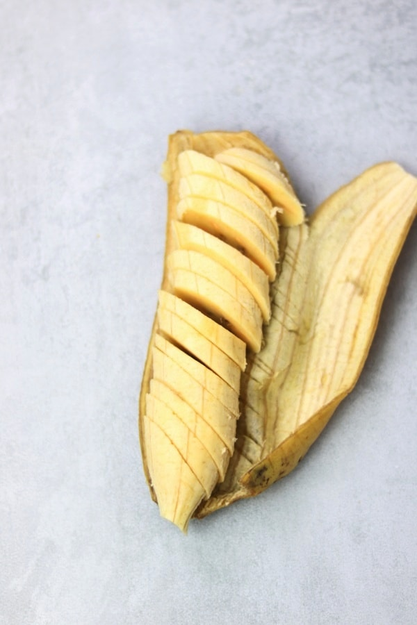 Peel and cut plantain