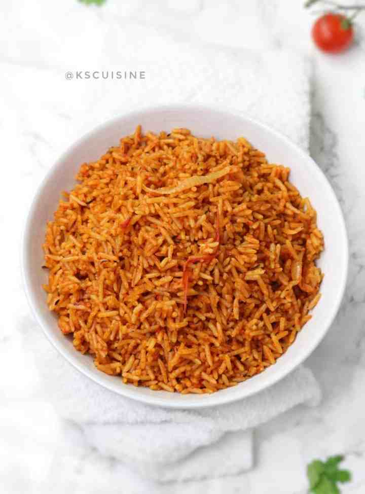 Jollof rice served in white plate
