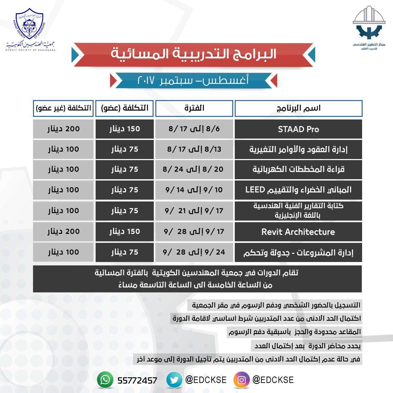تقام الدورات في جمعية المهندسين الكويتية بالفترة المسائية