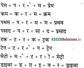 KSEEB Solutions for Class 6 Hindi वल्लरी Chapter 5 'र' की मात्राएँ रेफ पदेन 6