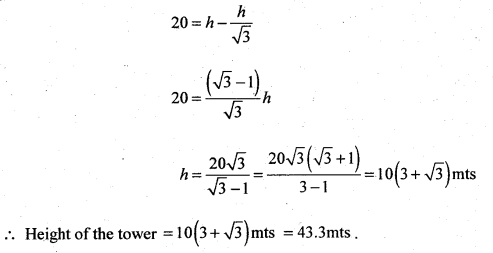 2nd PUC Basic Maths Question Bank Chapter 13 Heights and Distances 14