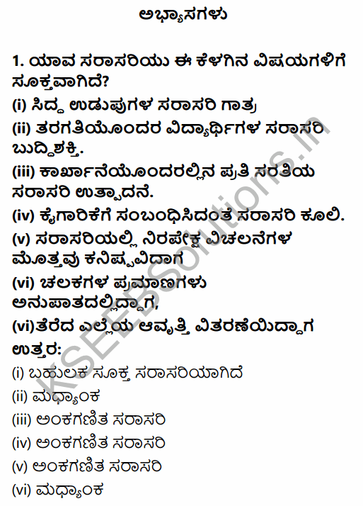 1st PUC Economics Question Bank Chapter 5 Measures of Central Tendency in Kannada 1