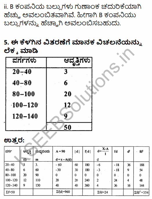 1st PUC Economics Question Bank Chapter 6 Measures of Dispersion in Kannada 50