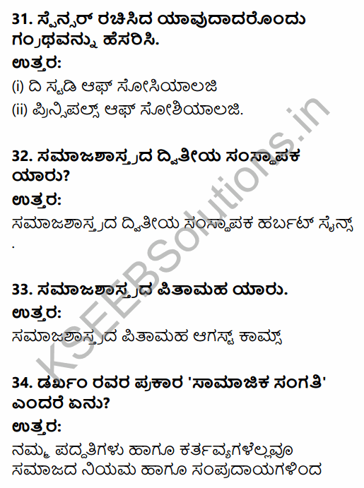 1st PUC Sociology Question Bank Chapter 1 Nature of Sociology in Kannada 10