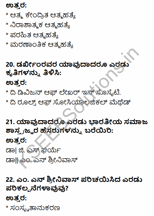 1st PUC Sociology Question Bank Chapter 1 Nature of Sociology in Kannada 23