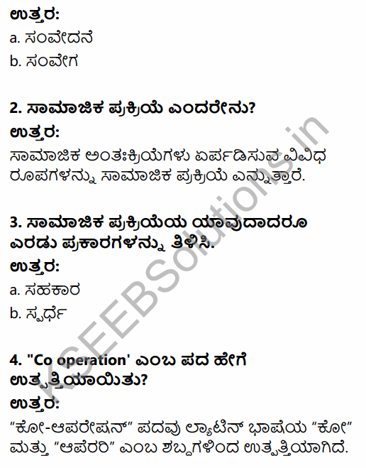 1st PUC Sociology Question Bank Chapter 3 Social Process in Kannada 9