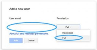 add new user, full restricted, google search console, ksengo