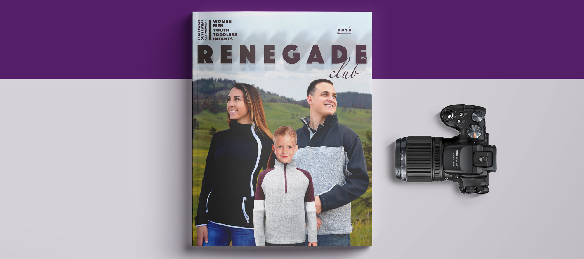ksengo art director branding 2019 project, renegade 2019 catalog purple cover camera