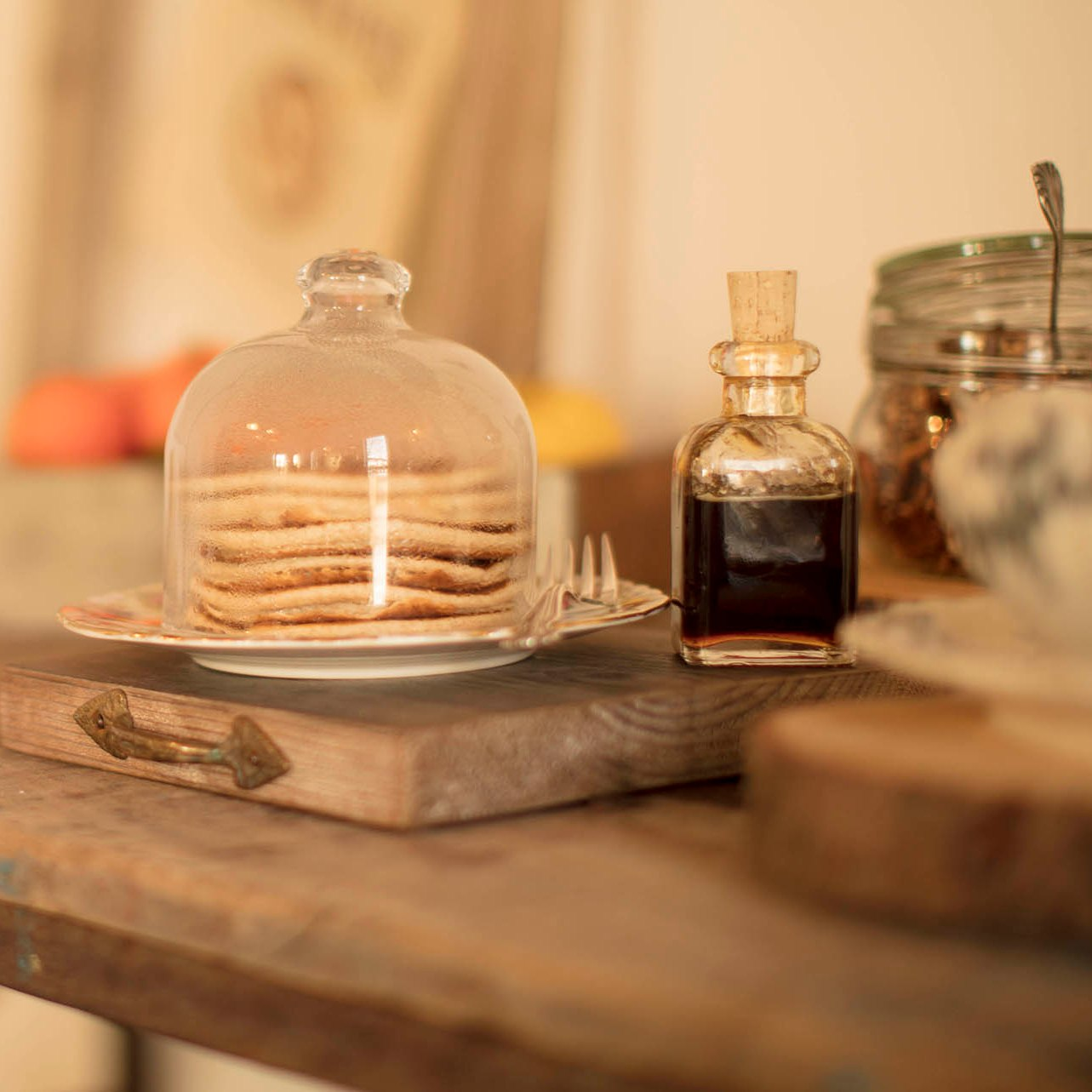 Breakfast with pancakes in countryside style decor