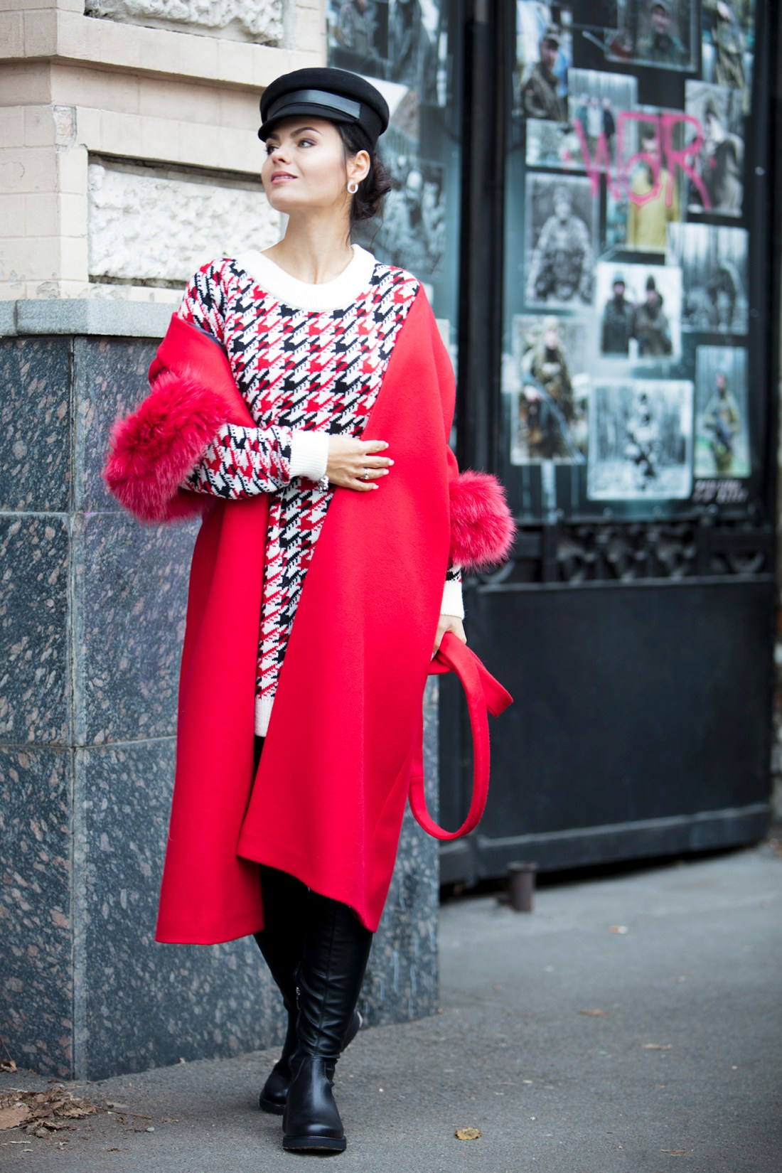 Street style fashion lookbook image model with red coat