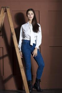 model girl studio photography light and shadows effect