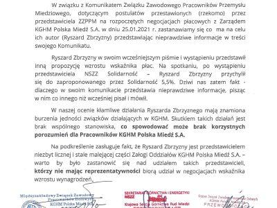 KGHM: próba rozbicia stanowiska związków zawodowych przez ZZPPM