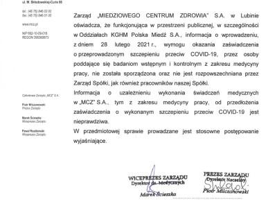 Zarząd MCZ zdementował nieprawdziwe informacje o obowiązkowych szczepieniach