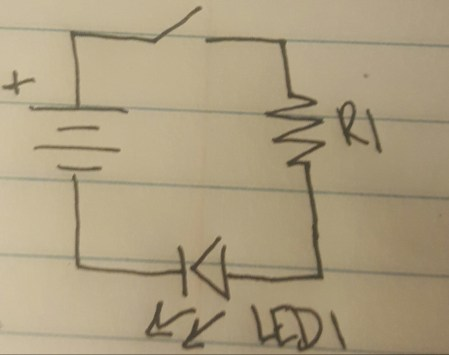 Schematic diagram depicting a switch, resistor, and LED