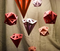 Close up of origami shapes