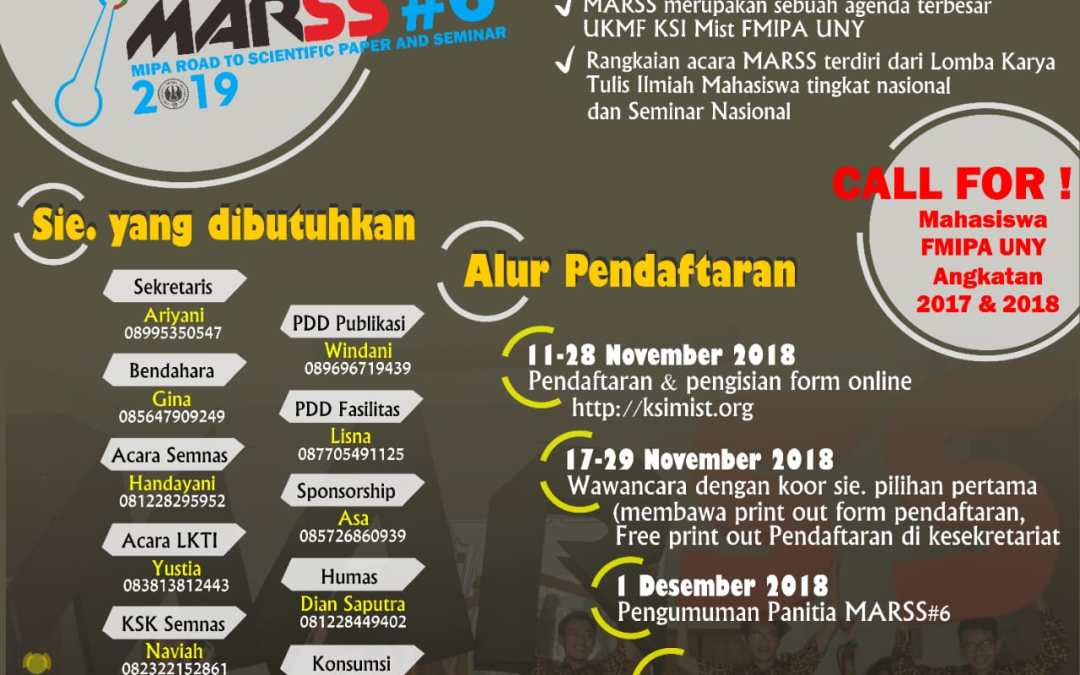 OPEN RECRUITMENT PANITIA MARSS#6 2019