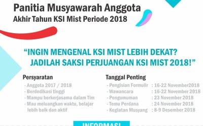 Open Recruitment Panitia Musyawarah Akhir Tahun KSI Mist 2018