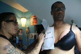 Sister Pat N Leather does a fitting for drag queen Mercedez Munro to design a costume for her for an upcoming drag queen pageant in D.C. Photo by Kevin Skahan.