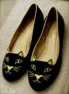 Black kitty slippers by Charlotte Olympia from Bob Ellis Shoes