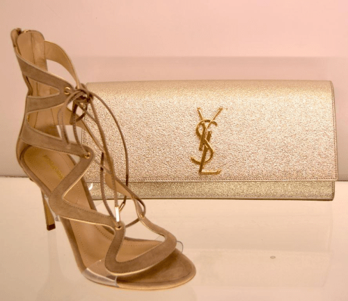 YSL clutch and suede gladiator heels