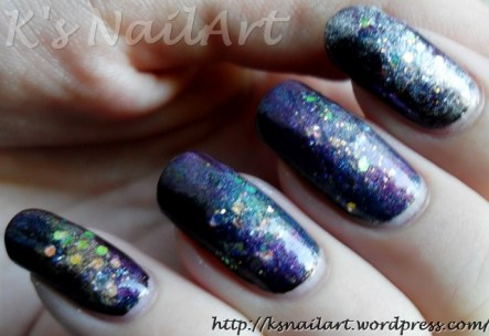 Galactic nails with holo powder