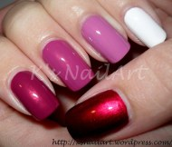 Red and White Ombre Nails