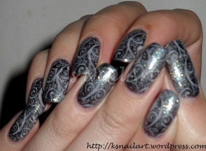 Holographic Nails With Abstract Stamping