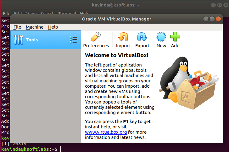 VirtualBox launched