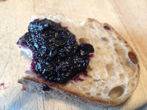blueberry jam, jam on bread