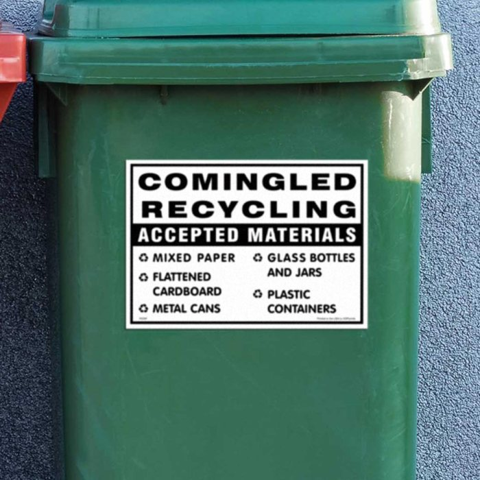Comingled recycling decal