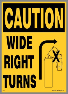 Caution Wide Right Turn Stickers