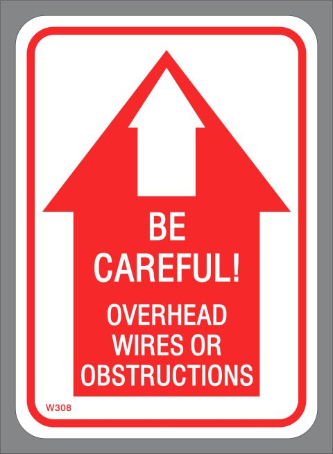 Smaller Overhead Wires or Obstructions BE CAREFUL! decal
