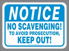No Scavenging Container Sticker