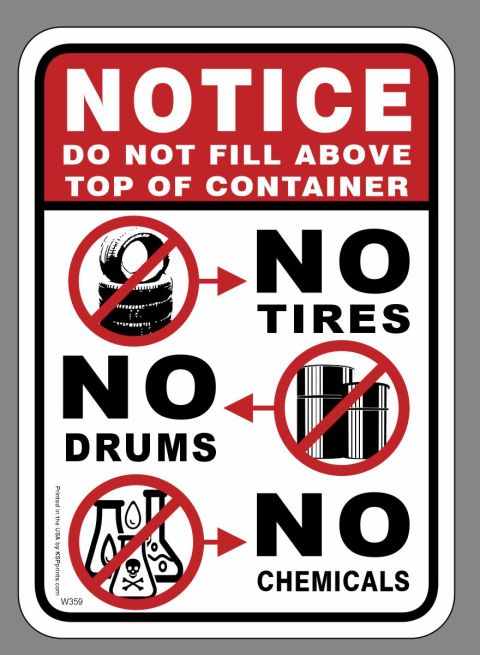 Tires Drums Chemicals Sign
