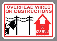ANSI style Warning Overhead Obstructions label