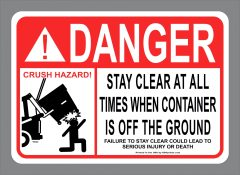ANSI Danger Stay Clear Front Load Waste Sticker