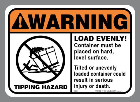 ANSI WARNING TIPPING HAZARD LOAD EVENLY