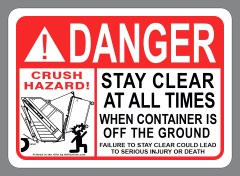 Danger Rear Load Sticker