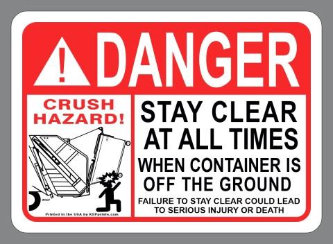 Danger Rear Load Sticker