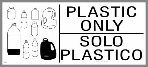 large plastic only container sticker