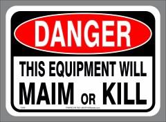 EQUIPMENT MAIM and KILL decal