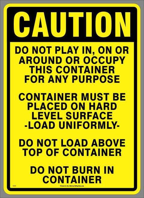 Multi-message vinyl Caution container label