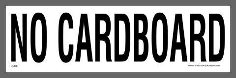 No Cardboard waste management sticker