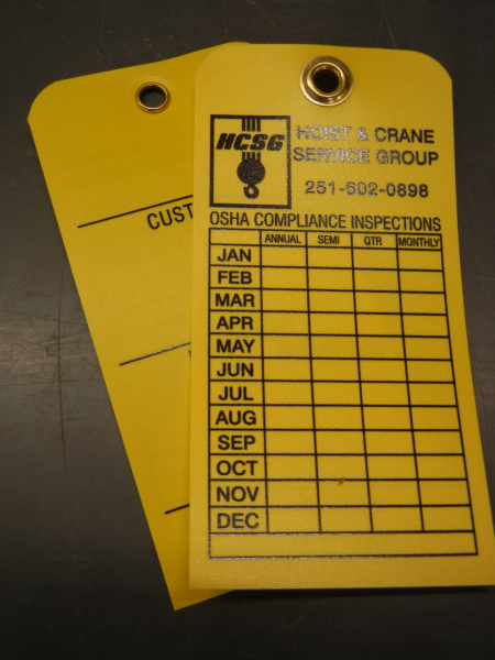 Some Industrial customers prefer the option of a metal grommet on their plastic inspection tag.