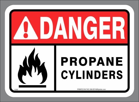 DANGER FLAMMABLE PROPANE CYLINDERS