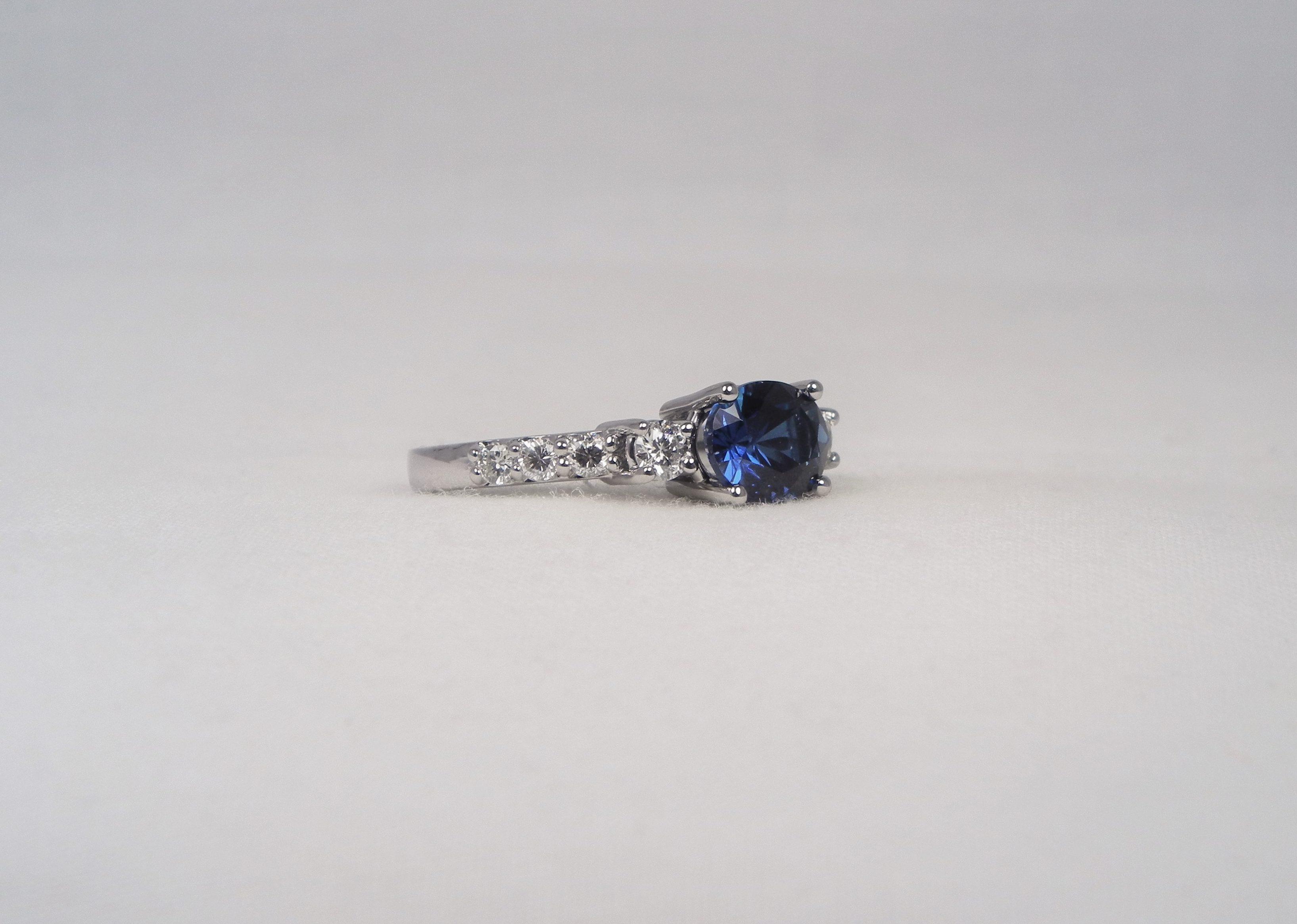 14K White Gold Blue Sapphire And Diamond Ring KT Diamonds