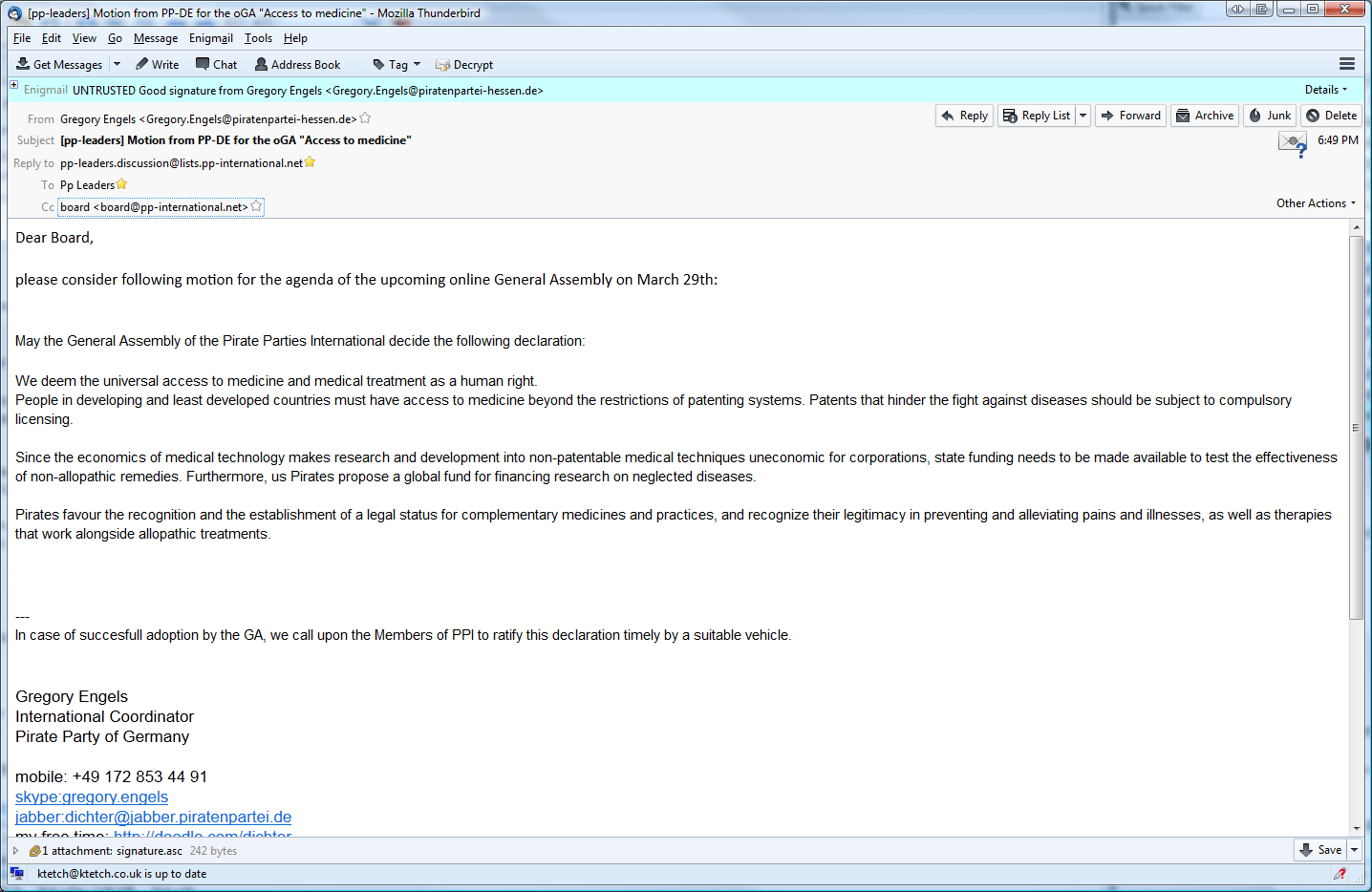 Pirate Resignation Letter