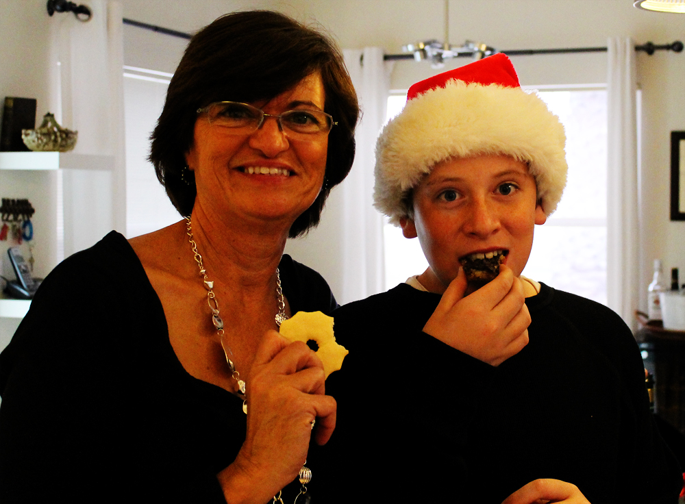 After eating a gourmet Christmas dinner prepared by Michelle  followed by pumpkin roll and Christmas bread baked by my sister, I tested Michelle's low-cal cookie.  Yum.  But not as good as full fat full sugar pumpkin roll and Christmas bread!  Decadent!
