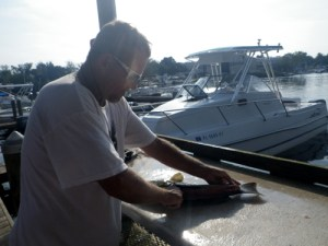 Weekend in Old Homosassa, Grouper cleaning at the Shed